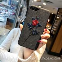 刺绣花苹果7plus手机壳挂绳iPhone6s软边xs max女款苹果X防摔8潮r