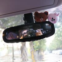 卡通可爱汽车头枕排挡套手刹套后视镜套安全护肩带套女士车内饰品 熊兔后视镜套 黑色