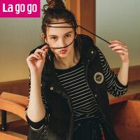 【每满200减100】Lagogo2017年冬季新款时连帽无袖羽绒服黑色中长款修身羽绒马甲女