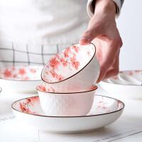 樱花系列骨瓷碗创意釉下彩餐具小碗厨房家用吃饭碗个性陶瓷米饭碗