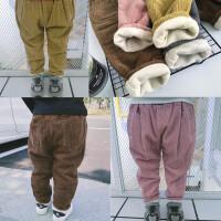 秋冬季男女童加绒加厚灯芯绒长裤宝宝黄色灰色条纹绒裤保暖大PP裤