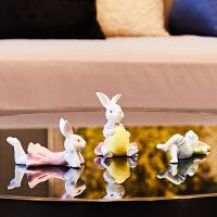 创意客厅电视柜书桌酒柜摆件现代简约情侣兔子摆设家装饰品工艺品
