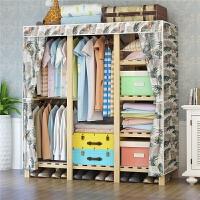 简易布衣柜木质布艺加固大号组装衣服收纳柜实木牛津布挂衣橱