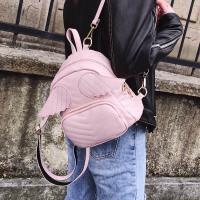 韩版小包包女2018新款多功能双肩包百搭菱格翅膀背包个性手提女包