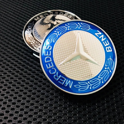 专用于奔驰改装轮毂60mm 麦穗黑色车轮盖 蓝色6厘米轮毂中心标志 汽车用品