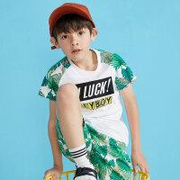 【1件2.5折到手价:24.8】moomoo童装男童短袖t恤夏季新款植物纯棉拼接儿童装男童体恤
