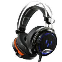 炫光 V7 V8游戏音乐头戴式主动降噪重低音电竞耳机HiFi电音耳麦带话筒7.1声效震动发光带线控 (USB接口)