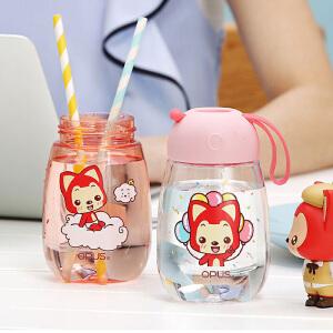 OPUS阿狸随手杯创意塑料水杯子儿童便携耐摔水壶可爱卡通带提绳