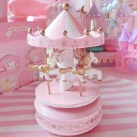 粉色梦幻旋转木马音乐盒桌面摆件 少女心桌面摆设软妹房间装饰品