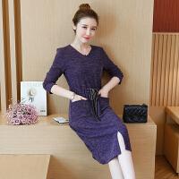2018秋季韩版新款胖妹妹大码毛衣宽松大码外套中长款有女人味的针织裙