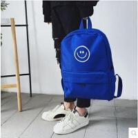 双肩包男初中学生书包男时尚潮流电脑包日韩青少年休闲帆布背包男 蓝色b222
