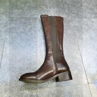 韩版冬季新款弹力靴长筒靴子马丁靴机车靴骑士靴平底加绒女鞋潮鞋SN0823 棕色 内里加绒