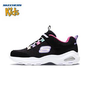 斯凯奇童鞋 (SKECHERS)女童鞋新款D'lites可爱亲子鞋 大童休闲鞋664088L-BKMT 黑色/多彩色