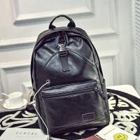 防盗潮流男士双肩包皮包包青年学生书包时尚个性背包电脑包旅行包 黑色 带耳机孔