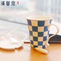 【每满100减50】汉馨堂 马克杯 多功能创意马克杯陶瓷杯子情侣杯水杯时尚咖啡杯带盖套装礼品送女友