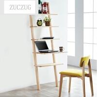 ZUCZUG现代创意简约实木书架置物架客厅靠墙简易落地书架卧室储物架层架 原木色日内瓦书写架