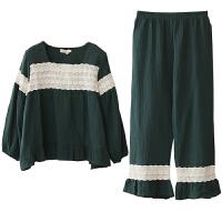 棉睡衣女秋冬新款长袖棉韩版清新学生家居服可外穿时尚两件套