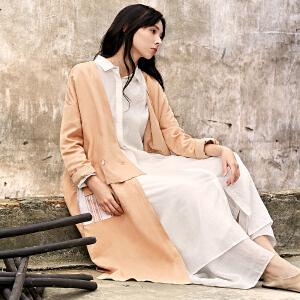 [AMII东方极简] JII AMII 春装2018新款女外套假两件条纹风衣中长款过膝