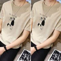 夏季男士圆领短袖T恤男韩版潮修身2018青年印花体恤衫ins半袖上衣