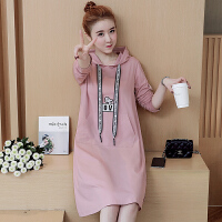 韩版中长款连衣裙外套衣服孕妇装卫衣孕妇装春装上衣2018新款
