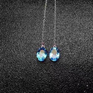 纯天然托帕石耳线,瑞士蓝