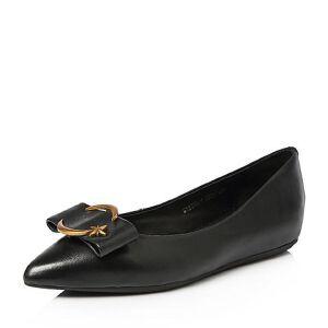 Tata/他她2018春专柜同款羊皮通勤饰扣尖头浅口女鞋S1235AQ8