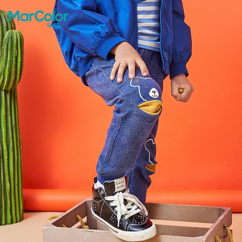 巴拉巴拉旗下MarColor马卡乐2019春新品男童卡通小熊印花针织长裤 膝盖开口设计 时尚个性