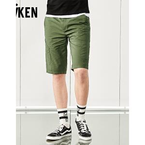 森马旗下森马集团 Aiken休闲短裤男士夏装新款黑色潮牌印花五分裤子男个性青年