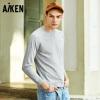 Aiken男士卫衣纯色圆领套头衫2018新春装青年长袖宽松卫衣纯棉