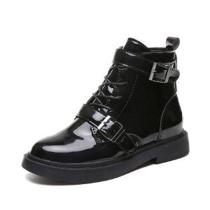 WARORWAR新品YM91-F387冬季韩版漆皮低跟鞋舒适女士靴子切尔西靴短靴