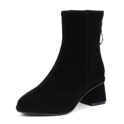 WARORWAR法国2019新品YG08-761冬季欧美反绒粗跟鞋中跟女鞋潮流时尚潮鞋百搭潮牌靴子切尔西靴短靴