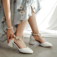 夏季小女孩高跟鞋儿童凉鞋花朵女童公主鞋小主持表演鞋韩版舞蹈鞋SN4628
