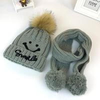 加绒儿童帽子围巾两件套2宝宝3毛线帽6男女童针织帽7岁冬季帽保暖 均码