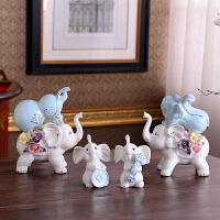 陶瓷大象摆件家居饰品酒柜装饰品客厅玄关隔断电视柜小工艺品