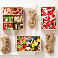 可爱创意木盒套装相册拍立得明信片照片夹子麻绳爱心木头木夹子 三件起发 单件