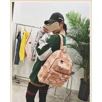 文艺双肩包女韩版大学生书包女简约灯芯绒背包花朵旅行包小清新潮