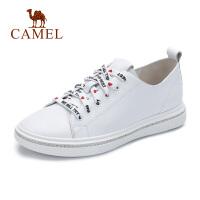 camel骆驼秋冬新款女鞋真皮休闲深口单鞋韩版水钻学生小白鞋
