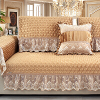 冬季毛绒沙发垫欧式布艺加厚防滑坐垫�f能套罩巾 孔雀 香槟