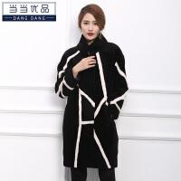 当当优品 女士皮草 羊剪绒外套 中长款 时尚羊毛大衣W1715黑色 2XL