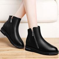 古奇天伦 欧美厚底马丁靴及踝短靴子侧拉链英伦复古粗跟擦色女靴子时尚女鞋 抱 GQ8505