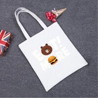 韩国清新文艺女包单肩包字母百搭学生书包帆布包购物袋 桔红色 eat熊白包