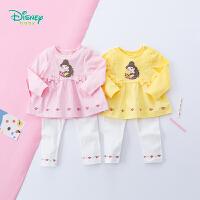 【12.10秒杀价:63.9】迪士尼Disney童装 女宝宝假两件长袖套装2019春季新品拼接上衣打底裤两件套191T