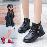 女童靴子秋冬皮靴2019新款加绒马丁靴英伦风中童棉靴儿童雪地短靴