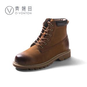 青婉田2018冬新款真皮复古马丁靴女英伦风平跟大黄短靴工装机车靴子加绒