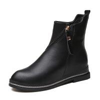 2018秋冬季新款平底马丁靴女短靴舒适百搭英伦风女士皮鞋学生鞋潮 黑色