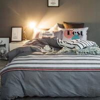 四件套全棉纯棉床上床单被套宿舍三件套简约2m单双人1.5m1.8米床 2.0m(6.6英尺) 适合220x240cm被
