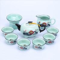 功夫茶具套装家用泡茶器简约现代客厅茶杯杯子茶壶陶瓷中式6只装
