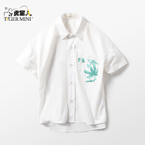 小虎宝儿童装男童纯棉短袖衬衫2018夏装新款中大童全棉宝宝衬衫潮