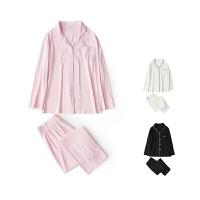 !18春韩版翻领长袖纯色衬衫+舒适长裤莫代尔家居服情侣套装