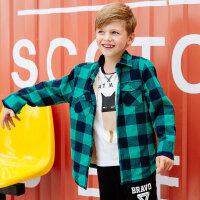 美特斯邦威旗下moomoo童装儿童衬衫男童加绒衬衣中大童法拉绒格子长袖上衣